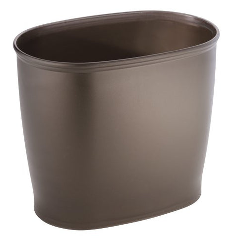 Interdesign Kent - Oval Trash Can For Bathroom, Kitchen Or Office - Bronze - 12 X 8 X 10 Inches