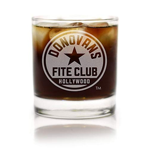 Movies On Glass - Premium Etched Ray Donovan Fite Club Engraved Logo Whiskey Glass 11 Ounces