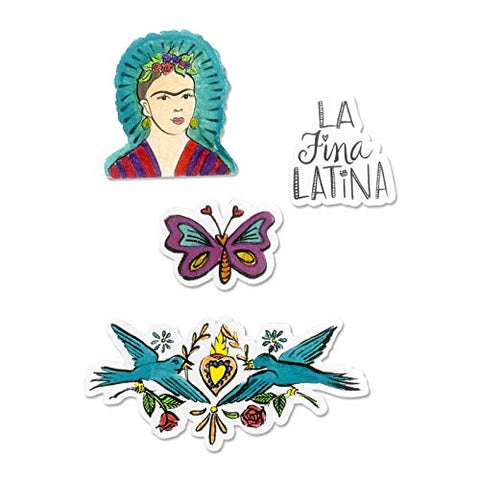Sizzix 663141 Framelits Die Set With Stamps La Fina (Fine Latina), 4-Pack, Multicolor