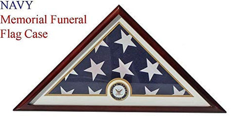 Navy Flag Display Case Box, 5X9 Burial - Funeral - Veteran Flag Elegant Display