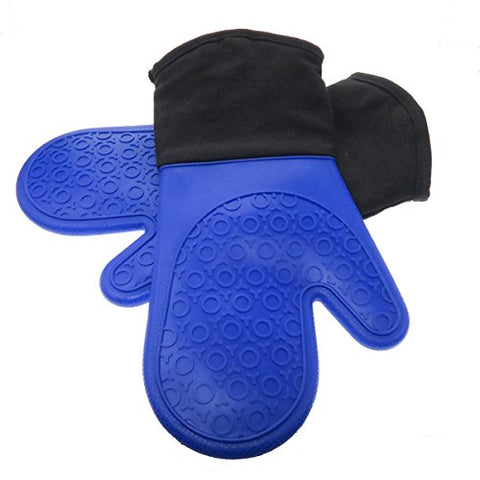 Homwe Oven Mitt With Non-Slip Grip, Heat Resistant To 450 F, Set Of 2, Royal Blue