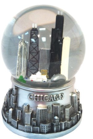 Musical Chicago Snowglobe - Waterglobe - Pewter Look - 100Mm