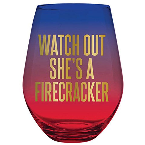 30Oz Stemless Multicolor Wine Glass - Watch Out She'S A Firecracker.