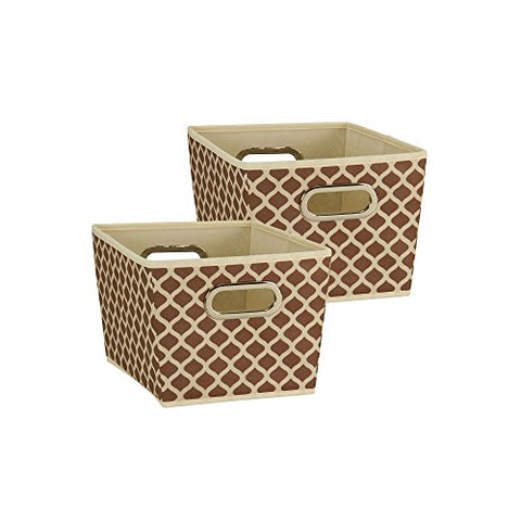 Household Essentials 77 Small Tapered Decorative Storage Bins | Set Cubby Baskets | Canvas With Mocha Pattern