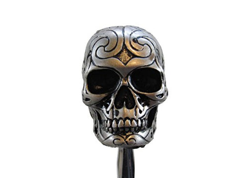 Silver Tone Carved Celtic Zombie Tattoo Skull Head Hot Rod Auto Gear Shift Knob / Decor