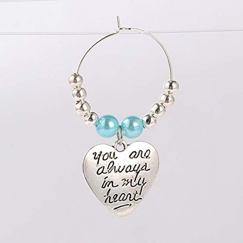 Pepperlonely 10Pc You Are Always In My Heart!  Beaded Wine Glass Charms,Antique Silver,Deep Sky Blue, 46Mm; Pin: 0.7Mm