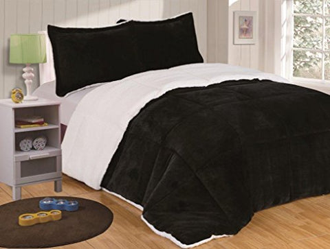 Chezmoi Collection 3-Piece Micromink Sherpa Reversible Down Alternative Comforter Set (Queen, Black)