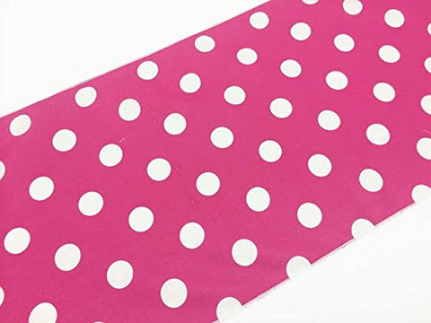 Artofabric Decorative Cotton White Polka Dots On Fuchsia Print Table Runner. 12 X 90