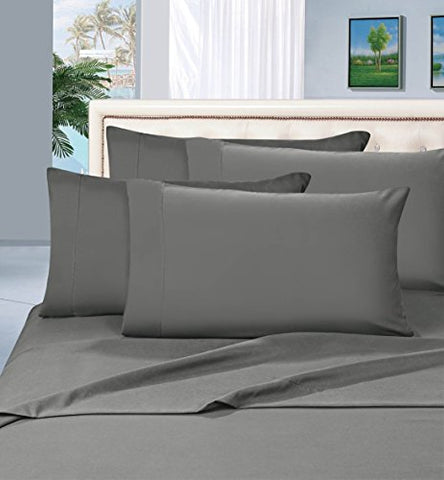 #1 Best Seller Luxury Pillowcases On Amazon! Highest Quality - Elegance Linen 1500 Thread Count Egyptian Quality Luxury Silky Soft Wrinkle-Resistant 2-Piece Pillowcases, King Size - Gray