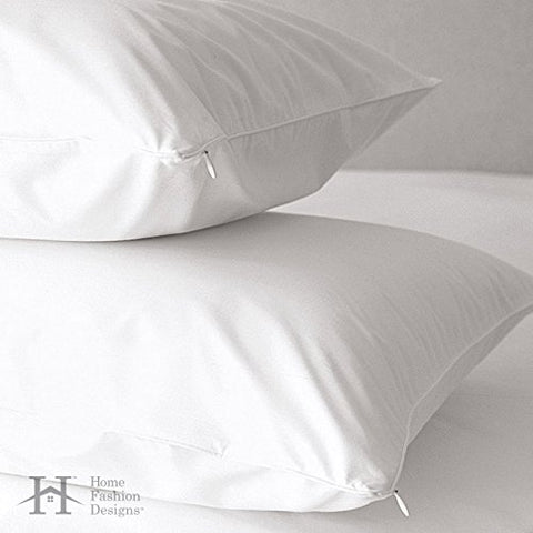 Premium Allergy Pillow Protectors. Hypoallergenic Dust Mite & Bed Bug Resistant Anti-Microbial 400 Thread Count 100% Cotton Zippered Pillow Covers. By Home Fashion Designs Brand. (Standard)