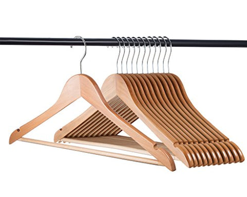 Home-It  Natural Wood Hangers - Solid Wood Clothes Hangers - Coat Hanger Wooden Hangers
