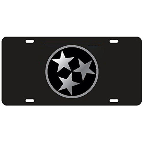 Tennessee Volunteers Black Tri-Star Laser Cut License Plate - Mirrored Logo