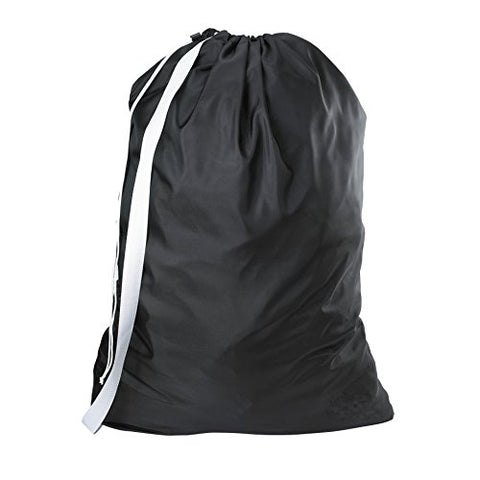 Nylon Laundry Bag With Shoulder Strap, Black - 30 X 40 - Commercial Grade 100% Nylon, Designed For Heavy Duty Use, College Laundry Bags, Laundromat And Household Storage - Made In The Usa