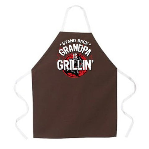 Attitude Aprons Fully Adjustable Stand Back, Grandpa Is Grillin Apron, Brown