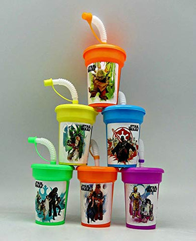 6 Star Wars Yoda, Darth Vader, Chewbacca Stickers Birthday Sipper Cups With Lids Party Favor Cup