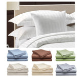 Queen Size 400 Thread Count 100% Cotton Sateen Dobby Stripe Sheet Set -Ivory