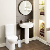 Homemaxs Toilet Brush And Holder Modern Design Longer Brush And Heavy Enough For Bathroom Toilet (White)