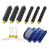 Shp-Zone Aero Vac Filter & Bristle Brush & Flexible Beater Brush & 3-Armed Side Brush Pack Replenishment Mega Kit For Irobot Roomba 600 Series (620 630 650 660 680) Vacuum Cleaning Robots