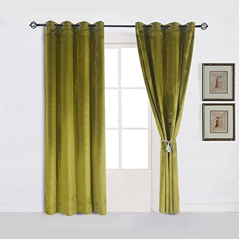 Super Soft Luxury Velvet Moss Green |Olive Greenset Of 2 Thermal Blackout Curtain Panel Drapes Grommet Draperies Eyelet 52Wx96L Inch Green-Yellow(2 Panels)