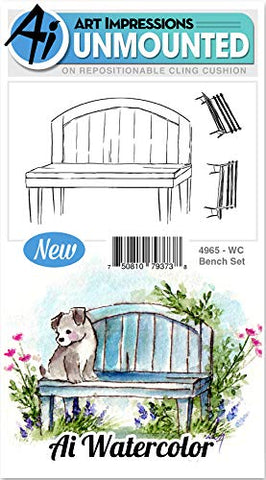 Art Impressions Watercolor Cling Rubber Stamps -Bench