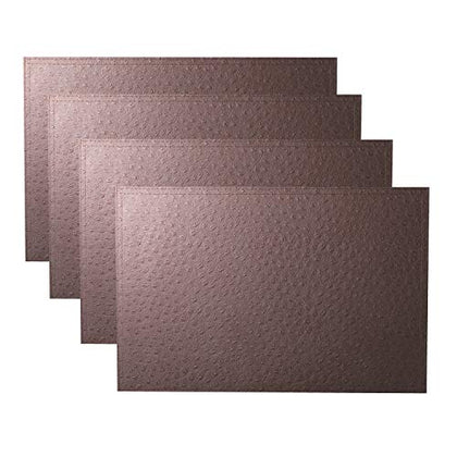 Simpletome Placemats Leather Set Of 4 Double Layer Pvc Slap-Up Ostrich Grain (Coffee)