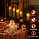 Flameless Candles, Battery Operated Candles Flickering Flameless Candles With Remote Timer - Set 5 6 7 8 9 Real Wax Pillar By Comenzar (Ivory White)
