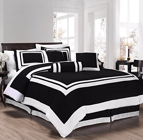 Chezmoi Collection 7 Pieces Caprice Black/White Square Pattern Hotel Bedding Comforter Set (Full, Black/White)