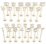 Wooden Wedding Table Numbers 1-Thick Heavy Duty Vintage Home Birthday Party Event Banquet Decor Anniversary Decoration Favors Signs Natural Color Set Stands With Base Holder Catering Reception