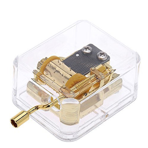 Helen Zora 18 Note Acrylic Clear Gold Hand Cranked Gurdy Musical Mechanism Music Box(For Elise)