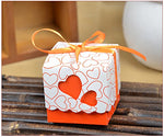 Kail Diy Love Heart Candy Gift Boxes Wedding Bridal Favor Wedding Party Decor Kit 50Pcs Orange