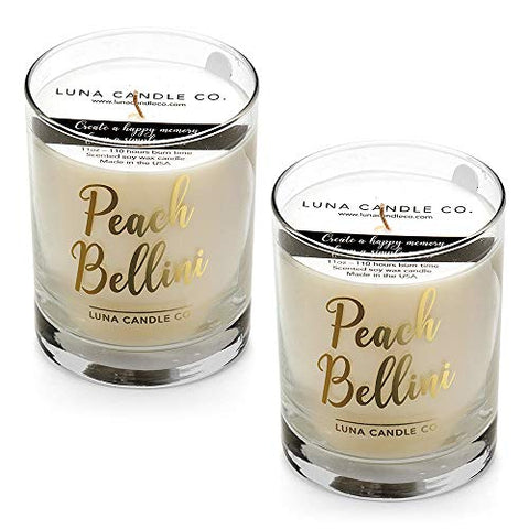 Luna Candle Co. Peach Bellini - Scented Luxurious Candles - 11 Oz