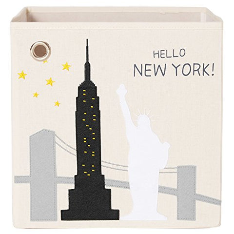 Kaikai & Ash Foldable Canvas Storage Box, 13 Inch Toy Cube Bin, Large, Hello New York!