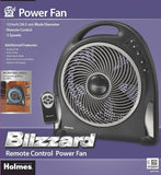 Holmes 12 Inch Blizzard Remote Control Power Fan With Rotating Grill