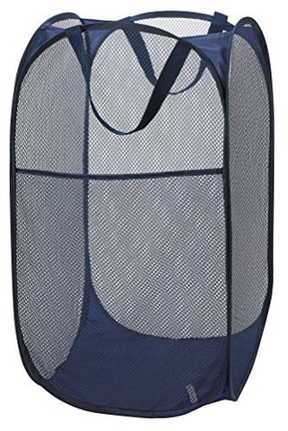 Mesh Pop-Up Laundry Hamper, Navy Blue - 14 X 24 - Easy To Open And Folds Flat For Storage. Hampers Mesh Material Helps Eliminate Laundry Odors And Moisture. Great Laundry Hamper For College Dorm.