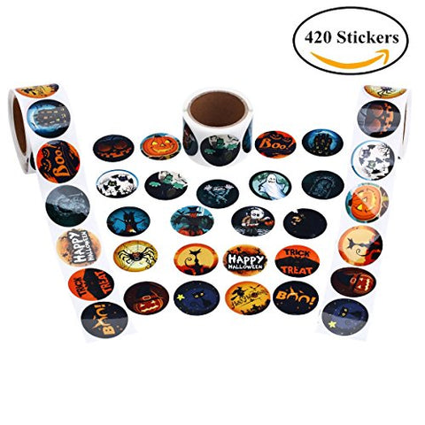 Cualfec Halloween Stickers Roll For Kids With 21 Designs - 420 Stickers