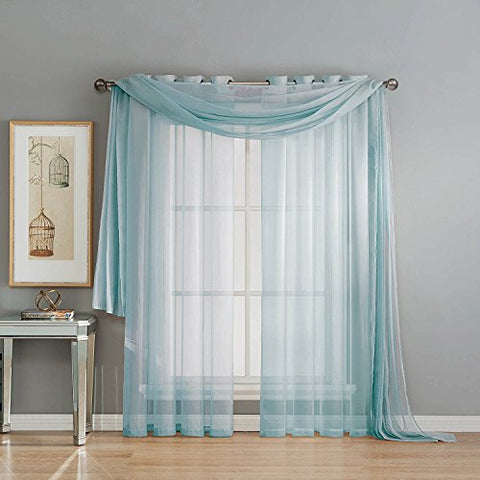 Elegant Mary 1 Peace Scarf Valance Soft Sheer Voile Window Panel Curtain - 216 Long Valance (Light Blue)