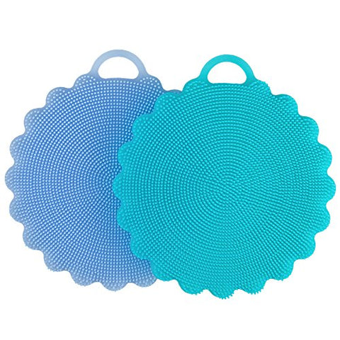 Food-Grade Antibacterial Silicone Non Stick Dishwashing Dish Brush Sponge Towel Scrubber For Kitchen Wash Pot Pan Dish Bowl / Wash Fruit And Vegetable (Blue+Sky Blue)
