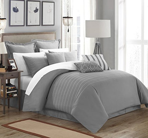 Chic Home 9 Piece Brenton Super Rich Microfiber Stitch Embroidered Comforter, King, Grey