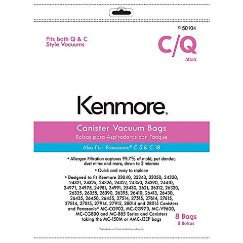 Kenmore Vacuum Bags For Kenmore C/Q And Panasonic C-5 And C-18 Canisters Vacuums Km48751-12