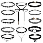 Gotd 12 Pieces Choker Necklace Set Stretch Velvet Classic Gothic Tattoo Lace Choker