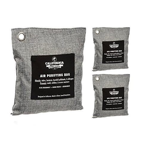 - Natural Home Deodorizer Bags (2X 200G & 1X 500G), Naturally Activated Bamboo Air Purifying Bag, Charcoal Colored Unscented Bags By California Home Goods