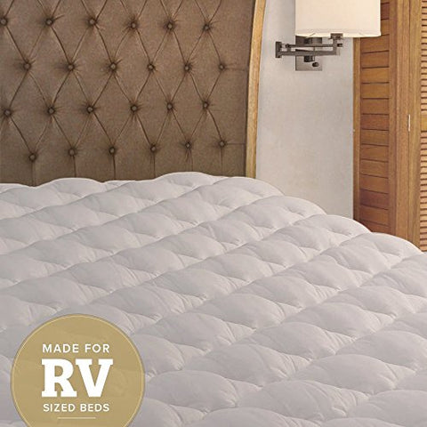 Rv Mattress Pad - Extra Plush Topper With Fitted Skirt - Found In Marriott Hotels - Made In The Usa - Hypoallergenic - Mattress Cover For Rv, Camper - Short Queen