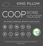 Coop Home Goods - Premium Adjustable Loft - Shredded Hypoallergenic Certipur Memory Foam Pillow With Washable Removable Cooling Bamboo Derived Rayon Cover -King