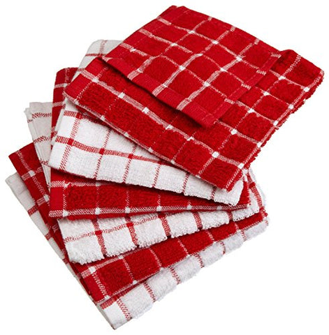 Dii 100% Cotton, Machine Washable, Ultra Absorbant, Basic Everyday 12 X 12 Terry Kitchen Dish Cloths, Windowpane Design, Set Of 6- Red