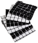 Dii 100% Cotton, Machine Washable, Ultra Absorbant, Basic Everyday 12 X 12 Terry Kitchen Dish Cloths, Windowpane Design, Set Of 6- Black