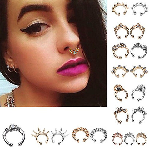 Maggie 20 Pcs 12Mm Fake Septum Clicker Nose Ring Non Piercing Hanger Clip Body Jewelry