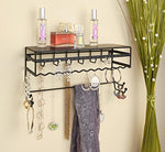 Black 13.5 Wall Mount Jewelry & Accessory Storage Rack Organizer Shelf For Earrings, Bracelets, Necklaces, & Hair Accessories