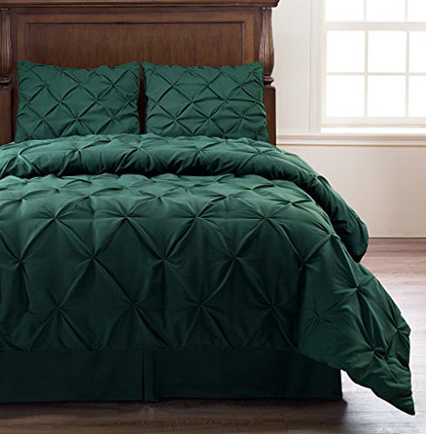 Pinch Pleat 4-Piece Comforter Set, Bed Cover | Color :Hunter Green | Size : Queen