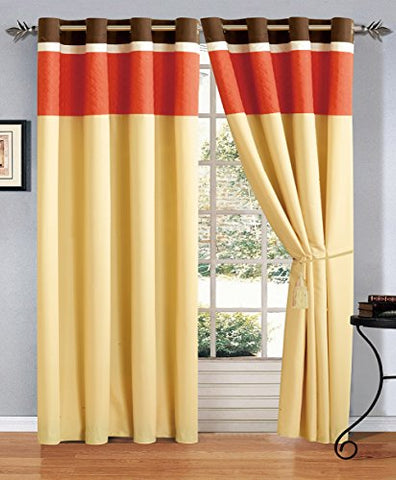 Modern 4 - Piece Orange / Brown / White Embroidered Grommet Curtain Set Drapes / Window Panels 120  Wide X 84  Tall