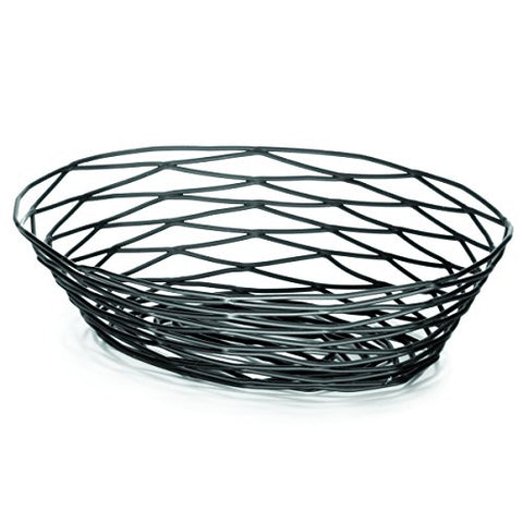 Tablecraft Products Bk17409 Basket, Oval, 9  X 6  X 2.25 , Black Metal